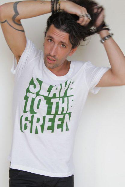 NT011M-SLAVE(white)-OK2 shirt sérigraphié de Créateurs. Made in France. Tee Shirt Rock - Tee Shirt Punk. Nineteesparis.fr