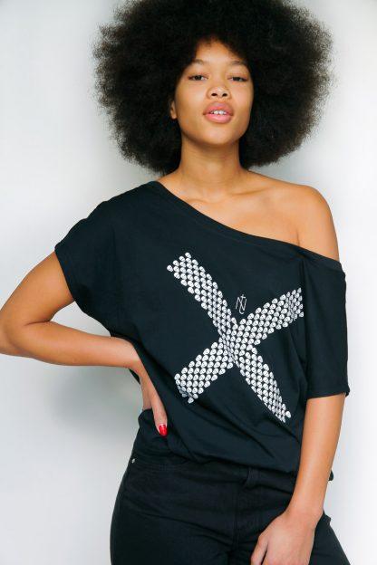 NT013W-CROSS(black) Tshirt sérigraphié de Créateurs. Made in France. Tee Shirt Rock - Tee Shirt Punk. Nineteesparis.fr